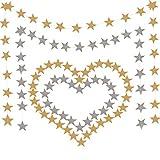 YANX Paquete de 52 pies-4 Decoraciones Colgantes de Guirnaldas de Estrellas Bunting de Papel de 108 Estrellas Techo de Navidad Decoraciones de Pared Banners de Fiesta de Cumpleaños (Oro y Plata)
