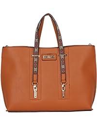 Nikky Women'S Double Top Handle Large Shopper Tote Handbag Shoulder Bag, Brown, One Size