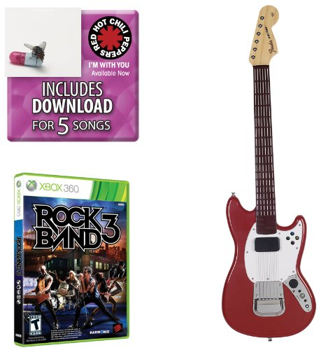 Mad Catz Rock Band 3 PRO-Gitarren-Set Beinhaltet: Red Hot Chili Peppers Bonus-Tracks, Full Game und Fender Mustang PRO-Gitarrencontroller für Xbox 360