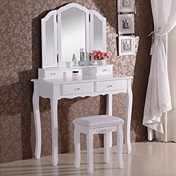 WOLTU MB6027cm Dressing Table Cosmetic Table Dressing Table Set with 3 Mirrors and 1 Stool 4 Drawers White Makeup Desk 90 x 40 x 145cm(L x W x H)