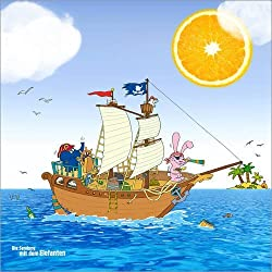 Imágen infantil de piratas para decorar 120 x 120 cm.