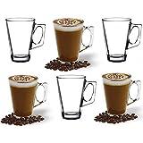 ANSIO Grandes Tasses à café Latte en verre-385ml (13 oz)-Coffret Cadeau de 6 Verres Latte-Compatible avec la Machine Tassimo