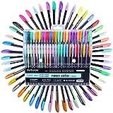 48Packs Color bolígrafos de tinta de gel, incluye 12rotulador metálico + 12brillante + 12+ 12agua tiza, 1,0mm punta vibrante bolígrafo de acuarela para adultos Libros para Colorear, dibujo y escritura, por wonderforu