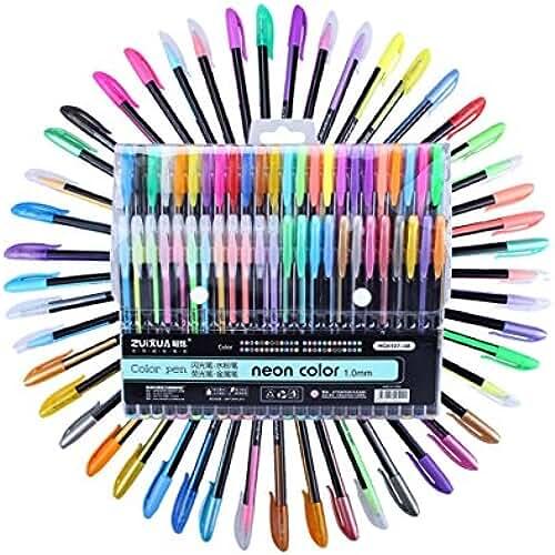 mas dibujos kawaii 48Packs Color bolígrafos de tinta de gel, incluye 12rotulador metálico + 12brillante + 12+ 12agua tiza, 1,0mm punta vibrante bolígrafo de acuarela para adultos Libros para Colorear, dibujo y escritura, por wonderforu