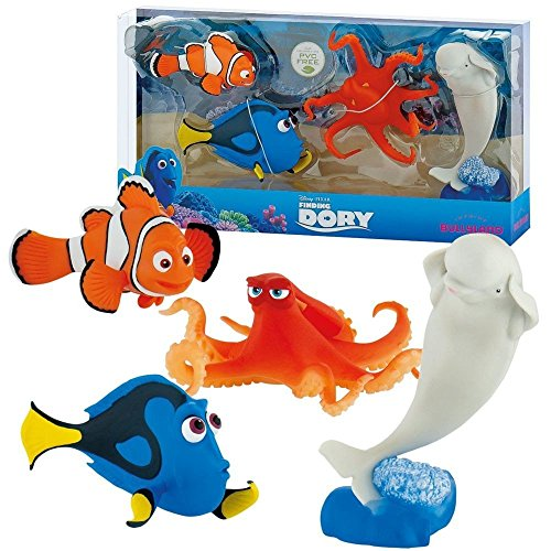 Bullyland 12066 - Disney Pixar Findet Dorie, Spielfigurenset, Hank, Bailey, Marlin und Dorie (Findet Nemo Spielzeug)