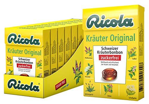 Ricola Kräuter Original, Schweizer Kräuterbonbon, 10 x 50g Böxli, ohne Zucker, Wohltuend für Hals und Stimme*