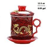 Teetasse mit Teesieb und Deckel und Untertasse, chinesisches Drachen-Muster, 4 Farben, 4 Stück rot