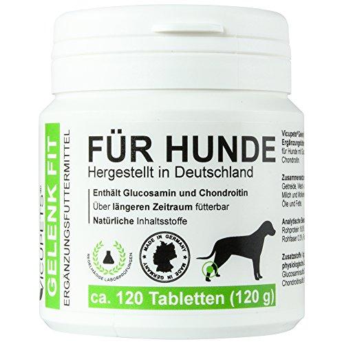 Vicupets Gelenk Fit für Hunde | enthält Glucosamin und Chondroitin | Made in Germany | 120 Stück (Tabletten 30 Hunde)