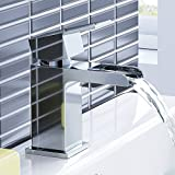 iBathUK Modern Waterfall Cloakroom Basin Mixer Tap Chrome Bathroom Sink Faucet TB3110