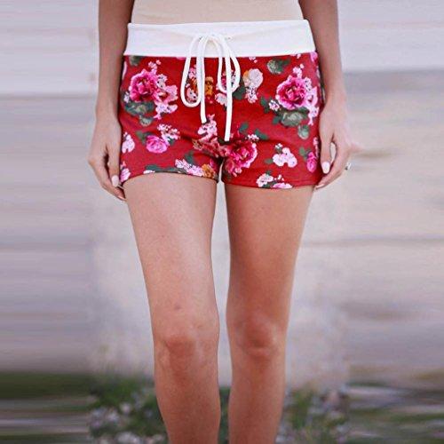 Pantaloncini da stampa floreali Vovotrade Pantaloni corti casuali estivi Rosso
