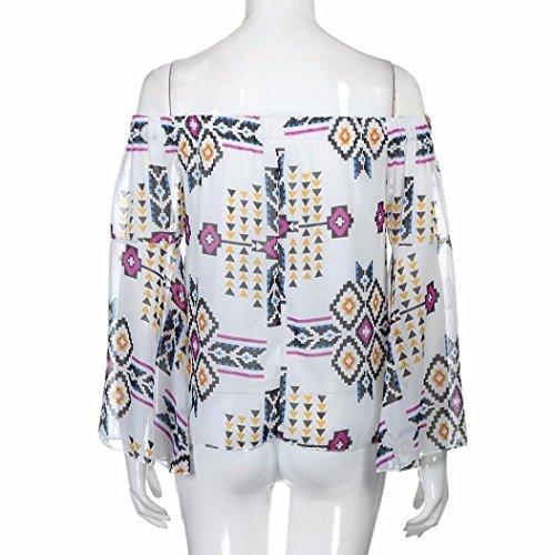 Longra Femmes L'automne Casual Imprimé Manche longue Off Shoulder Mousseline Loose Chemisier Tops Blanc
