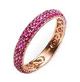 Epinki 18K Gold Ringe,1.2Ct Rundschliff Zertifiziert Diamant Rose Rubin Ringe Antragsringe für Damen Gr.61 (19.4)