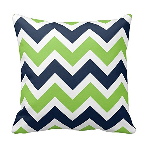 Bags-Online Dark Blue Green Zigzag Design Square Pillowcase with Invisible Zipper