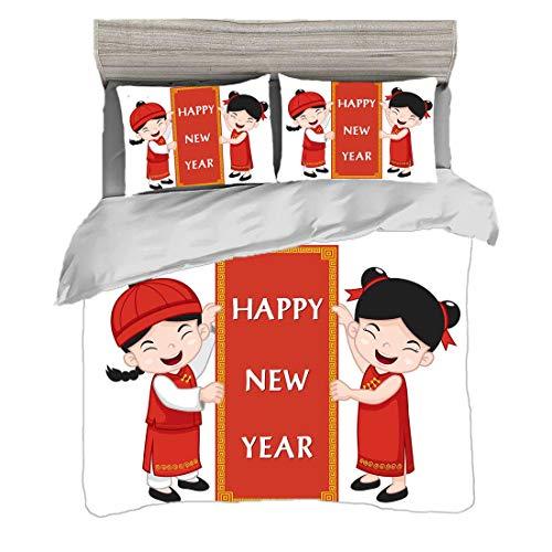 Traditionelle Asiatische Kostüm - Bettwäscheset (200 x 200 cm) mit 2 Kissenbezügen Chinesisches Neujahr Digitaldruck Bettwäsche Freundliche asiatische Kinder in den traditionellen Kostümen,die ein Feier-Zeichen anhalten,Mehrfarben, Pf