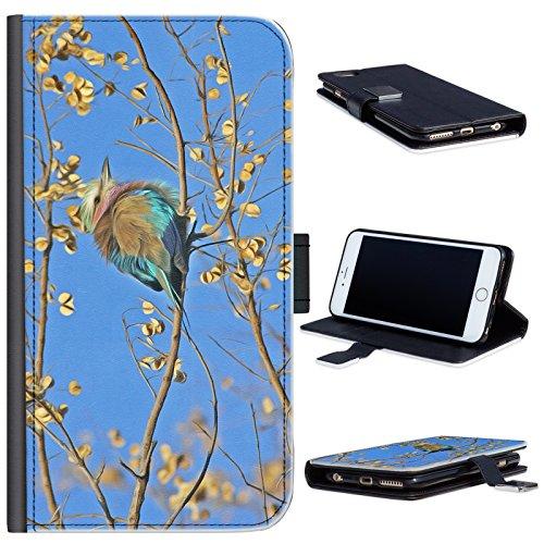 Hairyworm - Bunter Vogel saß auf Zweig HTC One M8 and M8 S Leder Klapphülle Etui Handy Tasche, Deckel mit Kartenfächern, Geldscheinfach und Magnetverschluss. HTC One M8 Fall (Htc M8 Bunte Fall)