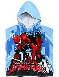 Cape de bain à capuche enfant garçon Spider-man Bleu 58x120cm