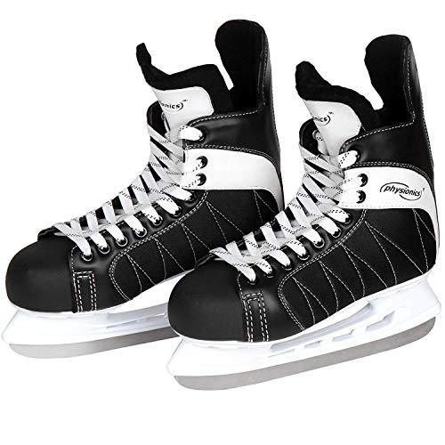 Physionics Eishockey Schlittschuhe Größe 45 Schwarz-Weiß für Anfänger und Fortgeschrittene robust für Erwachsene