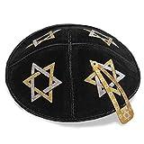 16 cm juif cuir noir Kippa Kippa Kippa Synagogue Etoile de David Design