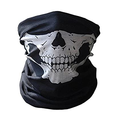WeiMay Skull Face Mask, Black Half Face Stretchable Windproof Seamless Tubular Mask Bandana Scarf Headband Headwear Neck Warmer for Outdoor Motorcycle Bicycle MotorBike Activities : everything 5 pounds (or less!)