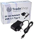 Trade-Shop 5V Schnell Ladekabel Ladegerät Netzteil USB 3.1 Typ C 2A für Oukitel K10 K10000 Max K5000 K6 Shift Shift6m TP-Link Neffos N1 Xiaomi Mi A1 Mi Max 2 Xiaomi Mi Max 3 Mi Mix 2