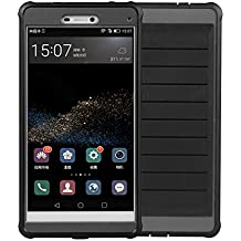 Huawei P8 Case, VOKOO [Shockproof Series] [Soft TPU Bumper] Scratch Resistant Clear Protective Cases Hard Cover for Huawei P8 (2016) (Matte Black)