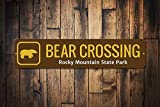 Bär Crossing Schild Custom Rocky Mountain State Park Name Xing Geschenk Personalisierte Park-Erholung Metallschilder Lustiges Aluminium Schild für Garage Haus Hof, Zaun Auffahrt