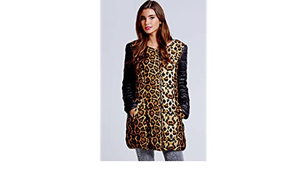 da0a7abe6165 Girls on Film Leopard Print Collarless Coat 16 UK | EUR 44 Print:  Amazon.co.uk: Clothing