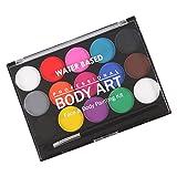 Gazechimp 15 Color Kit Maquillaje de Etapa Pintura de Cara Cuerpo Juego de Fantasía de Arte de Partido de Halloween