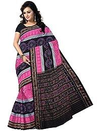 Odisha Saree Store Women's Pink Cotton Saree (Multicolour, Free Size)