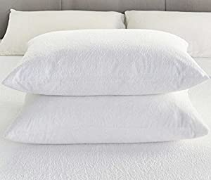Terry Towelling Pillow Protector Pair Waterproof Pillow Case Protector