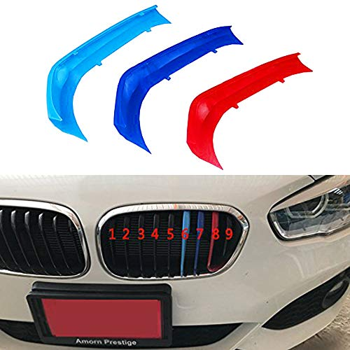 Per B M W 1 Series F20 F21 116i 118i 2015-2017 (9 Griglia) 3D M Adesivi per griglie anteriore M-Sport Grill Trim fibbia clip in Stripe copertura decorazio