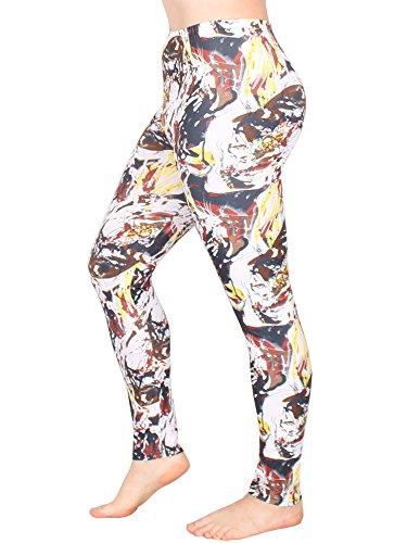 Leggins Damen Leggings leggings mit Muster bunt schwarz weiß elastisch 455 lang 3