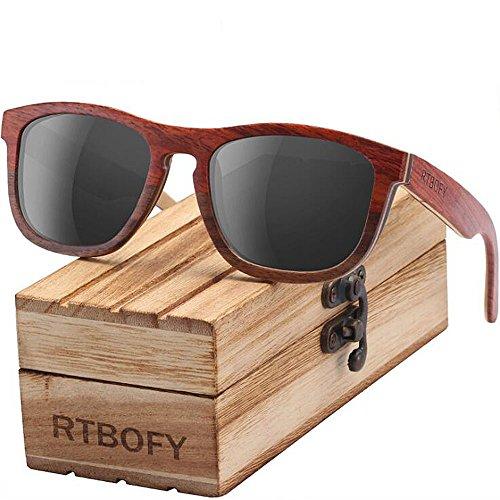 ANLW Polarisierte Sonnenbrille Handgemachte Hölzerne Bambus Sonnenbrille Retro Vintage Brille Aus Holz Sonnenbrillen Und Rahmen Gläser Mit Fall,C2