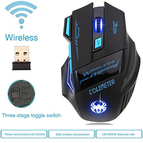 ZELOTES Verstellbar 2400dpi Optisch Funkmaus Wireless Gaming Kabellos USB Maus Tastature