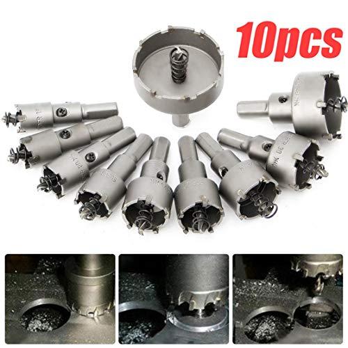 Happy Event 10PC Hartmetallspitze   TCT Lochsäge Cutter Drill   Bit Set für Stahl Metalllegierung 16-53mm - 2 Cutter Sds-bit