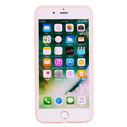iPhone 7 Plus (5.5 Zoll) Hülle , Kcdream Soft Handy Cover Ultra Slim Silikon Rückseite Schutzhülle Etui Handy-Tasche Back-Cover Bumper TPU Gummihülle stoßfeste Schutz-Cover Tasche mimt einzigartiges E Rosa