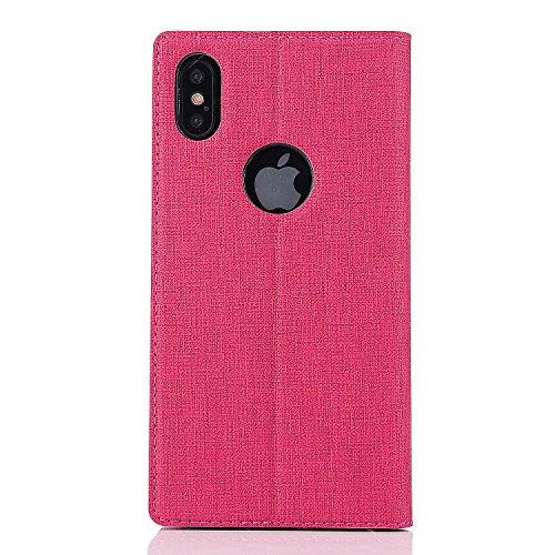 iPhone X Caso, Moda Giovanile Colore + PU pelle TPU Guscio morbido + slot per schede E supporto Adatto per iPhone X (5.8-Pollici Oro) Rose