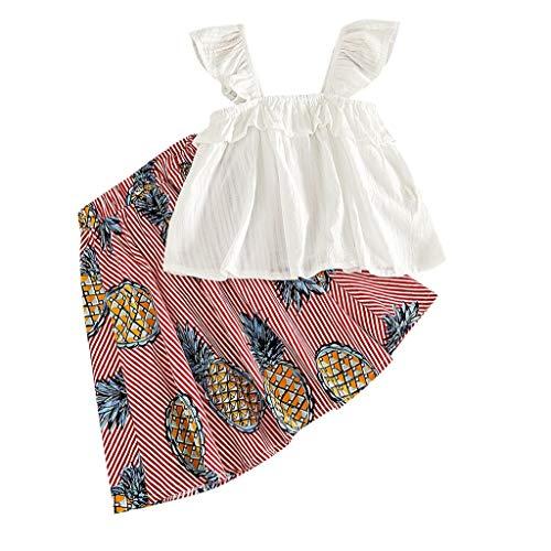 2 Stücke Kinder Mädchen Kleidung Kleinkind Bekleidungsset Sommer-Outfit Pwtchenty Tops T-Shirt Weste + Ananas Print Rock Set -
