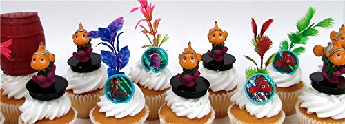FINDING NEMO 16 Piece Birthday CUPCAKE Topper Set Featuring 6 Finding Nemo Figures and Decorative Themed Accessories - Figures Average 2