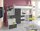 Furnistad Kinderzimmer Komplett Sky | Kinder Hochbett mit Treppe, Schreibtisch und Schrank (Option links, Weiß + Grau)