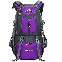 Mochila al aire libre 50L impermeable deporte al aire libre senderismo trekking camping viajes mochila paquete alpinismo escalada mochila (púrpura)