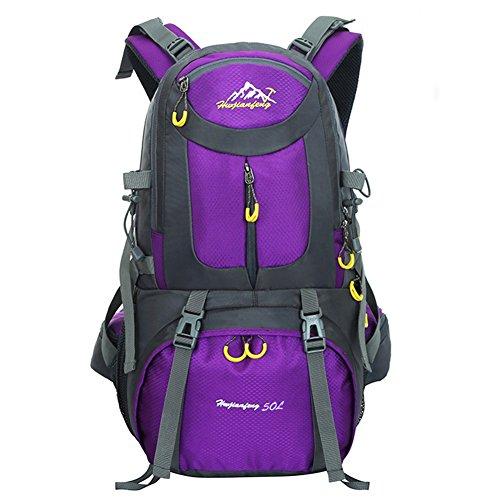 50L Zaino da Escursione Borsa da Sport all'aperto Impermeabile per il Trekking Camping Arrampicata Alpinismo LAHONE (Blu Scuro) Viola