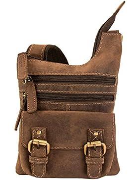 SID & VAIN® Umhängetasche BAILEY - Unisex Handtasche Schultergurt klein Ledertasche - Schultertasche im Vintage-Look...