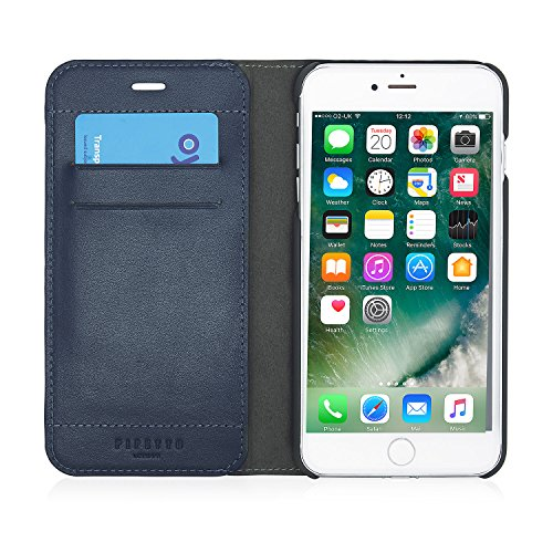 iPhone 7 Plus Case Pipetto Magnetverschluss Wallet Case für iPhone 6/6S/7 Plus [Medium] – PREMIUM Echt Leder mit 2 Kartenfächern und Ständer Funktion – Wallet Cover mit abnehmbaren Magnet Shell – Mari navy