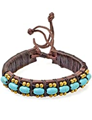 PAPAYANA Hippes Leder-Armband besetzt mit türkisen Steinen in Perlen-Form
