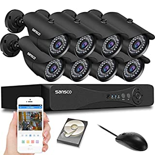 SANSCO [1080p HD Output 8-CH 1080P DVR CCTV Security System with 8x Outdoor Cameras + 2TB Hard Drive Disk (1920X1080 Mega-Pixel, P2P Technology, Night Vision, Vandal and Weather Proof Casing, Black)