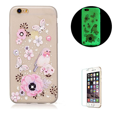 Diamant Schutzhülle für iPhone 7,Leuchtend Luminous Noctilucent Handyhülle für iPhone 7,Funyye Stilvoll Schmetterling Blume Muster Ultradünne Glitter Weiche Flexible Night Luminous Transparent Rücksei Schmetterling Blume
