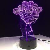 Luz Noche Amor Corazón Globo Regalo Creativo del Día de San Valentín Cambio de Color Luz Acrílico Regalo de Año Nuevo Decoración del hogar