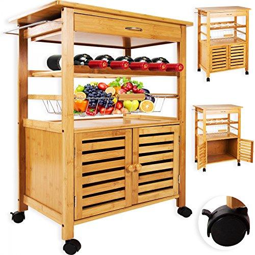 Kesser® Bambus Küchenwagen Küchentrolley Küchenschrank Beistellwagen Servierwagen NEU, Modell :KE-SW-01