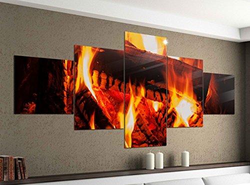 Acrylglasbilder 5 Teilig 200x100cm Lagerfeuer Feuer Kamin Holz Druck Acrylbild Acryl Acrylglas Bilder Bild 14F251, Acrylgröße 11:Gesamtgröße 200cmx100cm